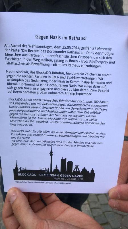Anti-Nazi-Demo am Rathaus Dortmund - Flugblatt
