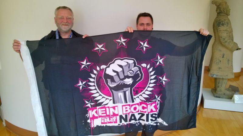 Antifaschistischer Banner im Rathaus Dortmund
