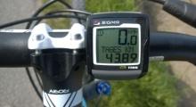 Tacho des Bikes mit fast 50 Tageskilometer auf der Anzeige.