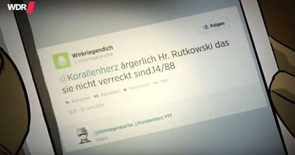 Tweet hübsach gezeichnet für die Doku Mut gegen Macht