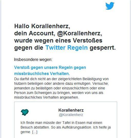 Bildschirmfoto: Twitter bestätigt das der Tweet plötzlich doch gegen Regeln verstößt.