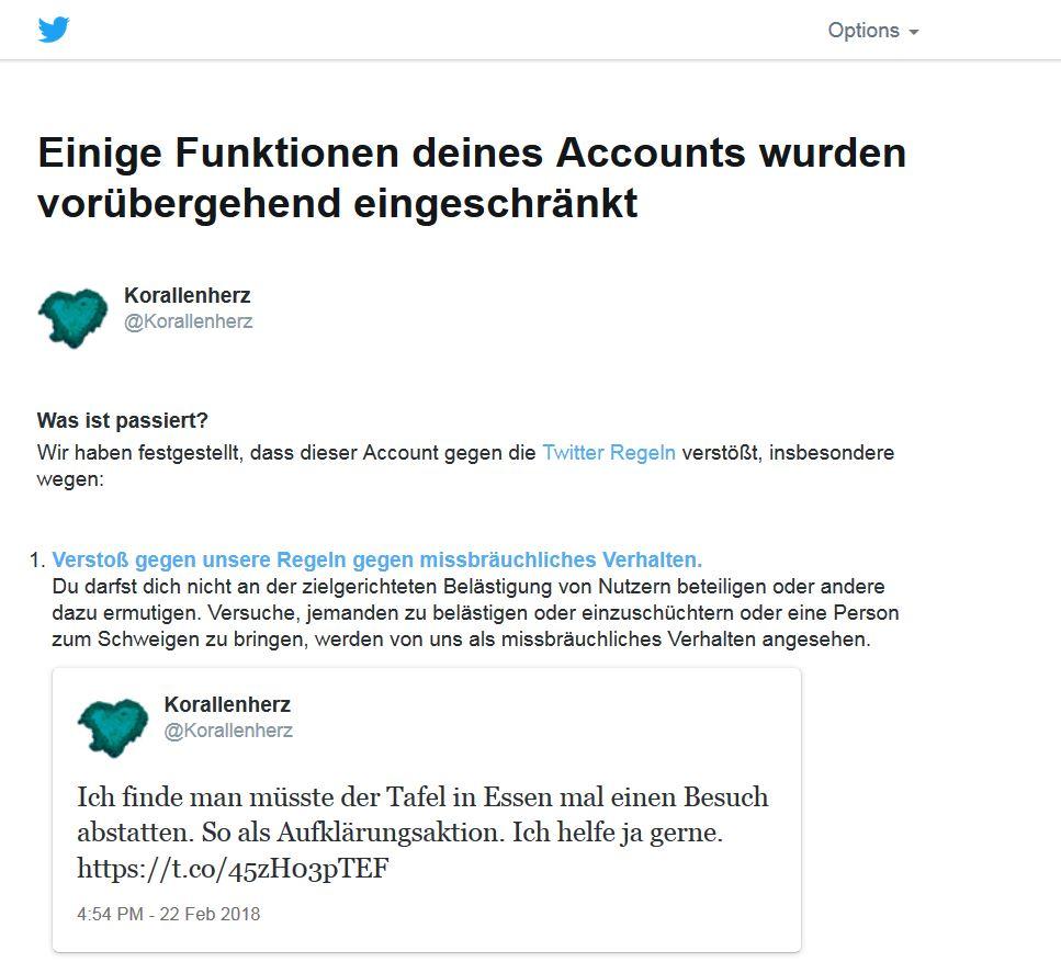 Rückmeldung von Twitter was ich tun muss um wieder meinen Account nutzen zu dürfen. Den besagten Tweet löchen.