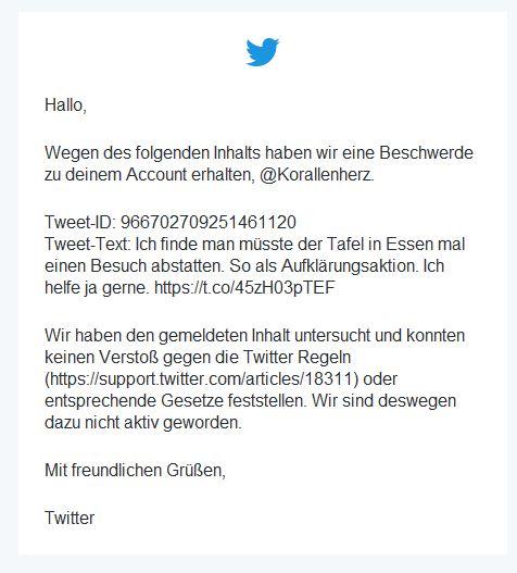 E-Mail von Twitter mit dem Hinweis, dass der Tweet nicht gegen Regeln verstößt.