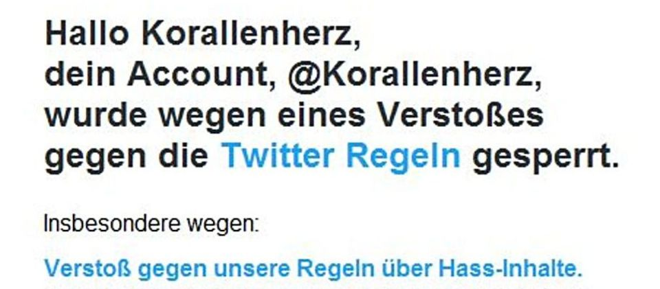 Symbolbild. Twittersperre. es zeigt die Einleitung von einer Mail von twitter an mich das ich gesepterrt wurde.