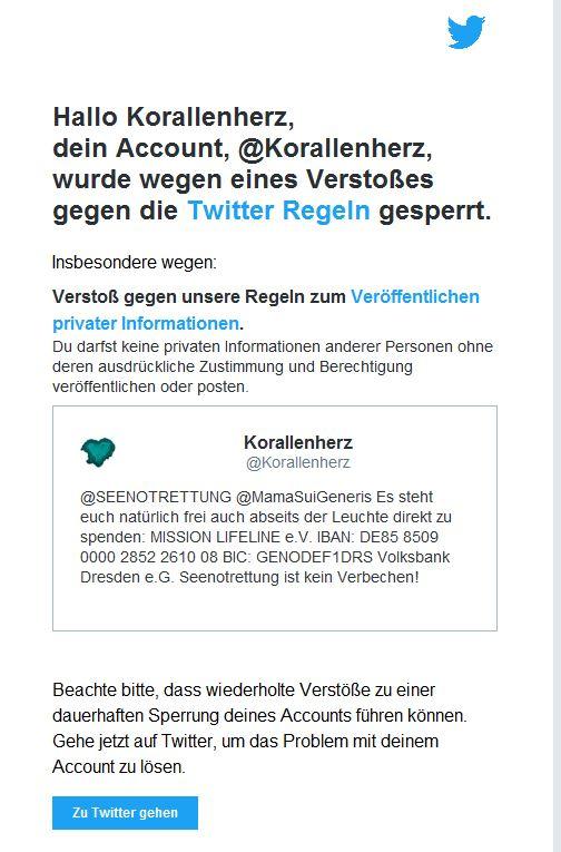 Hinweis von Twitter das wegen dem Tweet mein Konto gesperrt wurde.